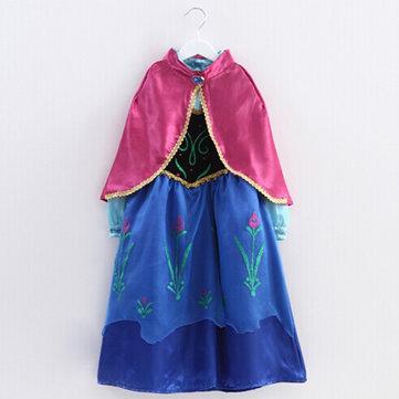 Vestito bello delle neonate splicing colori stampato bordo irregolare Con Scialle