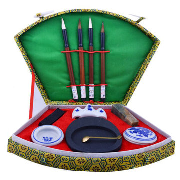 Chinese Calligraphy Writing Brush Pen Ink Mixing Inkstone Painting Tool Box Set