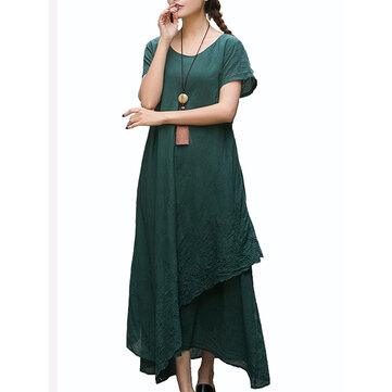 Vintage Women Embroidery Pure Color Short Sleeve Loose Maxi Dresses