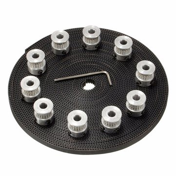 Buy 10M 2GT Timing Belt 20 Teeth GT2 Aluminium Pulley For 3D Printer CNC RepRap for $15.95 in Banggood store
