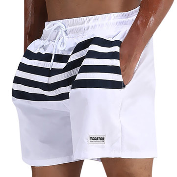 ESCATCH Mens Loose Board Shorts Outdoor Stitching Striped Summer Breathable Beach Shorts