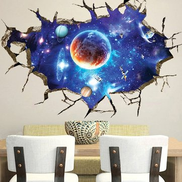 3D Espelho Do Espaço Wall Stickers Home Decor Mural Art Removível Galaxy  Wall Decals Part 82