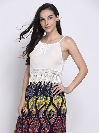 Sexy White Lace Crochet Patchwork Strap Women Tank Top