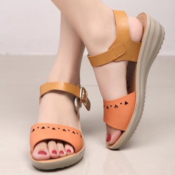 Women Chic Beach Wedge Sandals Hollow Out Peep Toe Platform Sandals