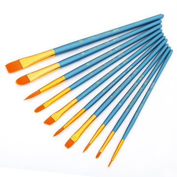 KCASA 10Pcs/Set Different Shape Watercolor Gouache Paint Brushes Nylon Brush Home Wall Decor Tool