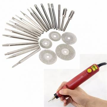 25pcs Diamond Coated Rotary Burrs and Cutting Wheel Blade Disc Set for...