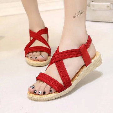 Bandage Elastic Wedge Sandals Soft Sole Lace Up Casual Beach Sandals