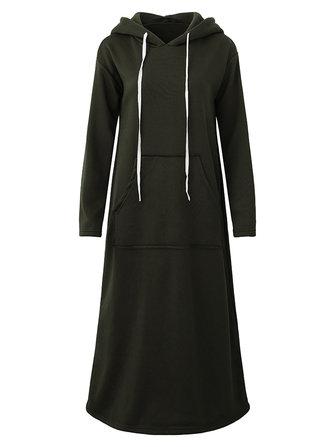 M-5XL Mujer Sudadera con capucha larga y manga larga con capucha larga Vestido