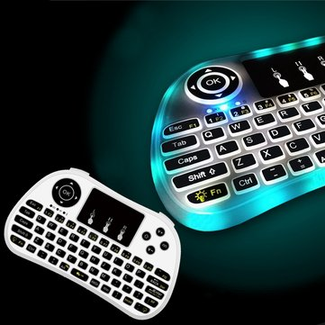 P9 Wireless 7 Colors Side Backlit 2.4G Touchpad Air Mouse Mini Keyboard for Android TV Box Laptop