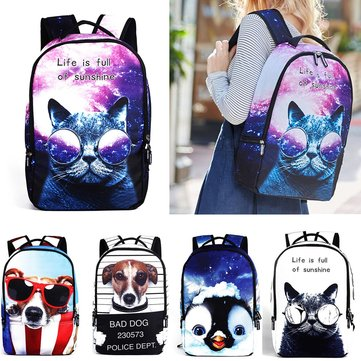 IPRee® Polyester Cartoon Laptop Rugzak Leuke Animal Dog Cat Print Schooltas Rucksack