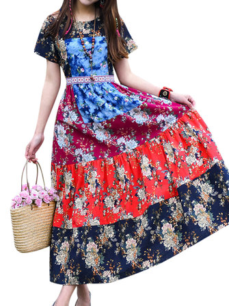 Donne Etniche Contrasto Colore Patchwork Printed Dresses