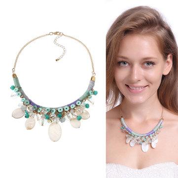 Bohemian Gold Trendy Party Shell Crystal Necklace Accessoires de vêtements pour femmes
