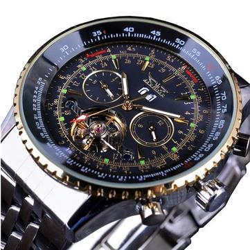 자라카르F120506패션자동기계식시계 스테인레스 스틸 스트랩 남자 손목 시계