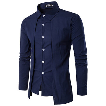 Mens Fashion Fake Two Pieces Personality Double Plackets Casual Long-sleeved Shirt