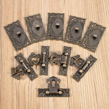 5 세트 청동 나무 자물쇠 상자 가방 토글 래치 버클 톤 5.1cm x2.9cm