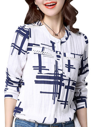 Casual Stripe Print Long Sleeve Losse Vrouwen Blouse