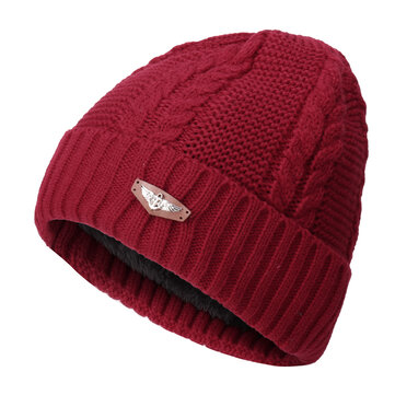 Men Women Plus Cashmere Knitted Warm Beanie Cap Ear Protection Solid Outdoor Hats