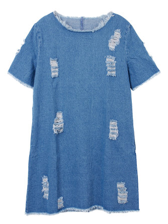 Casual Sexy Denim Hollow Out Women Mini Dress