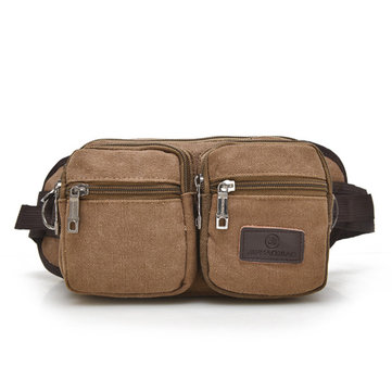 Men Canvas Capacity Multi Pocket Headphone Waist Bag