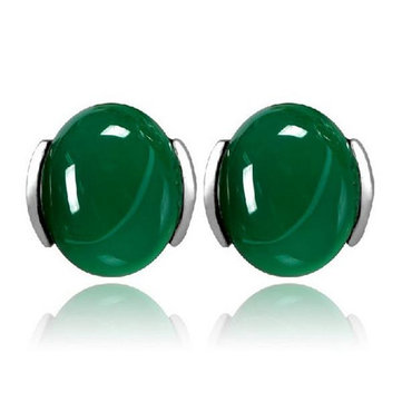 Silver Plated Lady Round Green Agate Earrings Elegant Gemstone Ear Stud Chinese Style for Women