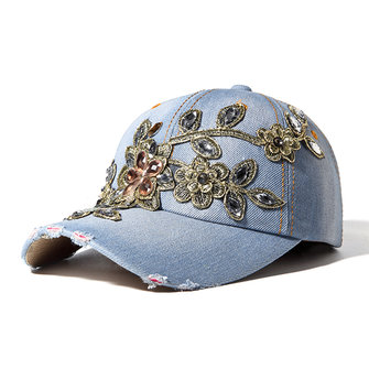 Buy Women Washed Denim Rhinestones Flowers Baseball Cap Outdoor Sport Sunshade Snapback Hat for $8.42 in Banggood store