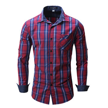 Camicia gira-giù moda plaid mens sticthing casuale a maniche lunghe in cotone monopetto fit