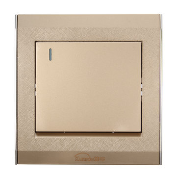 250V 16A Champagne Interruptor de pared para el hogar Hotel 1Gang 1 Way Wall Switch