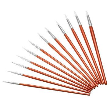 12pcs rosso spazzole di pittura di legno fissati acrilica strumento di disegno ad acquerello di olio artista