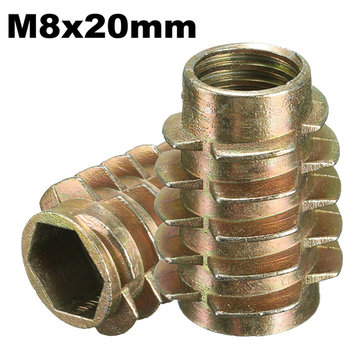 5Pcs M8x20mm Hex Drive Screw In Threaded Insert For Wood Type E