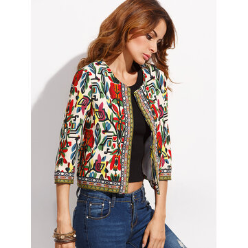 Buy O-NEWE Vintage Women Embroidery Patchwork Printed Short Jacket for $26.99 in Banggood store