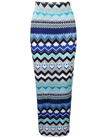 Bohemian Women High Waist Wave Striped Pencil Maxi Skirt