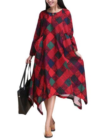 민속스타일여성격자무늬인쇄 된 주머니 끈 불규칙한 맥시 복장