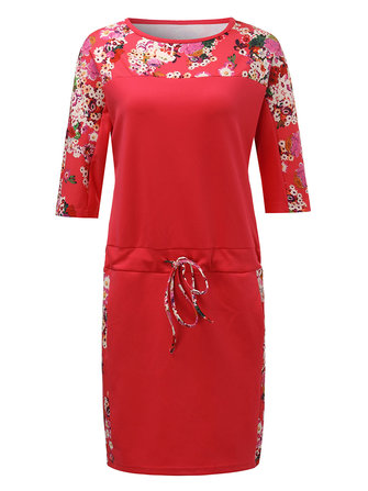 Casual Losse Vrouwen Floral Patchwork Drawstring Straight Dress