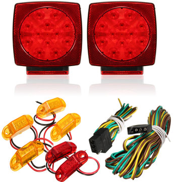 Truck Trailer Square LED Light kit Tail Stop Turn Brake Amber Side Marker Lamp