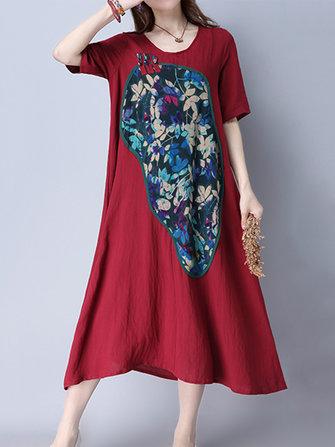 빈티지 느슨한 인쇄 개구리 단추 짧은 소매 여성 드레스