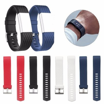 Replacement Silicone Diamond Pattern Wristband Watch Strap For Fitbit Charge 2