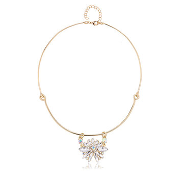 Trendy Balancing Style Dangle Crystal Flower Delicate Pandent Rhinestone Gold Necklace for Women
