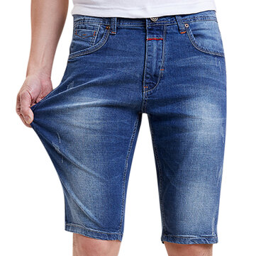 Mens Big Size Summer Casual Knee Length Jeans Mid Rise Slim Fit Denim Shorts