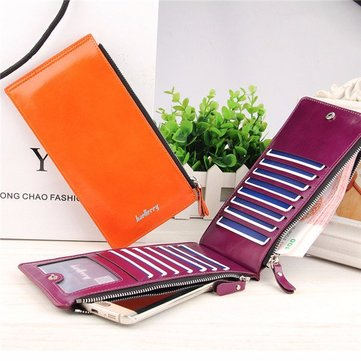 Women Waxy Ultra Thin Leather Long Purse Elegant Card Multi Card Holder Phone Wallets Coin Bags