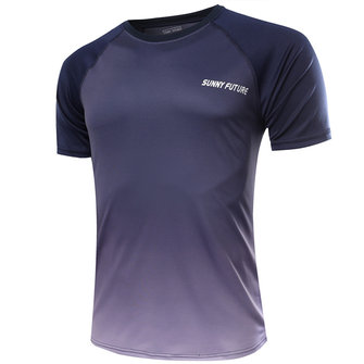 Breathable Quick-drying Gradient Color Men Sports Tops Fitness Short-sleeved Bodybuilding Sportswear