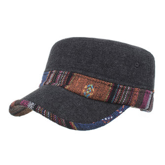 Mens Winter Warm Ethnic Retro Cotton Caps Causal Windproof Thickening Outdoor Solid Flat Hats