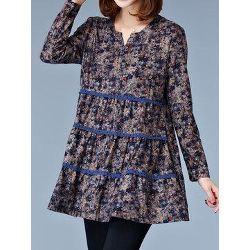 Blu pizzo patchwork floreali causali donne allentate t-shirt