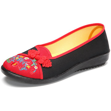 Buckle Embroidered Round Toe Flat Loafers For Women