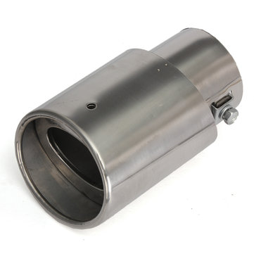 Buy Stainless Steel Chrome Round slanted Tip Exhaust Muffer Pipe Universal Cars