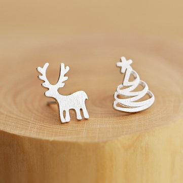 925 스털링 실버 사슴 크리스마스 트리 와이어 드로잉 비대칭 귀걸이