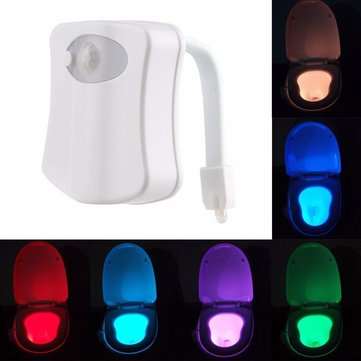 Body Motion Sensor Activated 8 Colors LED Night Light Toilet Bowl Bathroom Lamp