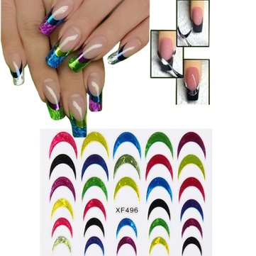 Multicolored Glitter Shiny French Tip Nail Art Sticker Manicure Decal Decoration
