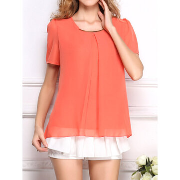 Casual Vrouwen met korte mouwen Pure Color O-hals chiffon Blouses