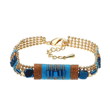 Bohemian Bracelet Gold Plated Blue Glass Bead Thread Charm Adjustable Bangle Boho Jewelry for Women