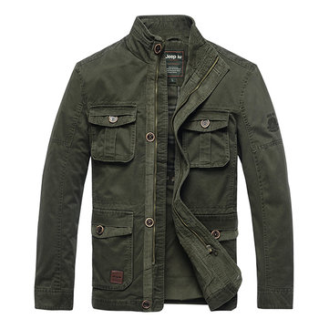Mannen Military Style Multi-pocket Stand Collar Zipper Single Breasted Solid Color Casual Jacket
